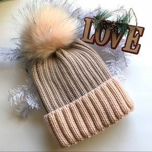 Poof pom knit beanie hat light pink and grey gray